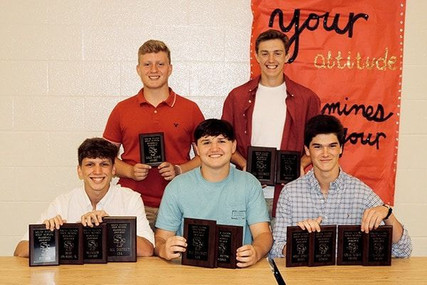 SFHS Baseball award winners included Garrett Slaughter, Golden Glove Award, Bryce McFarland, Slugger Award and All District, Jack Roney, Best On Base Percentage, Best Pitcher, Slugger Award and All District, Eli Carlisle, All District, Golden Glove Award, Most RBIs and Best Batting Average, Brock Brown, Most Runs Scored, Most Stolen Bases, Golden Glove and Slugger Award.