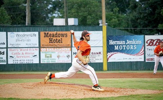 Railroader Tanner Stinnett earned the pitching win for the Railroaders home opener June 1. (Photo by Jake Clapper)