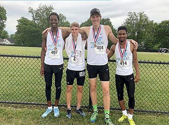 SEVENTH PLACE WIN – Fulton County High School's Track and Field entry in the Boys 4x800 team placed 7th in State competition May 30 at the University of Kentucky Outdoor Track Facility. From left, Wesley Brown, Isaac Madding, Camden Aldridge, and Kahari Miller. (Photo submitted)