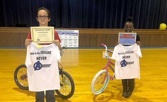 Students who achieved perfect attendance at Carr were rewarded for their efforts, with two of those who achieved perfect attendance rewarded with a new bike.