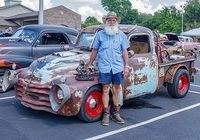 HICKMAN COUNTY FAIR CAR SHOW WINNER – Shayne Key of Mayfield, Kentucky won the best rat rod class in the First Annual Hickman County Fair Cruisin' Car Show.  The trophy was created and donated by Andrea Thompson, a student at the Paducah Area Technology Center. (Photo by Becky Meadows)