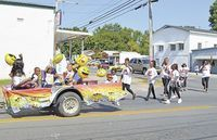EMOJI HAPPINESS – Members of the Emoji Squad participated in the annual Eighth of August parade held in Hickman on Aug. 4. The route started at the Bluff, traveled down Moscow Ave., and onto South Seventh Street.  (Photo by Barbara Atwill)
