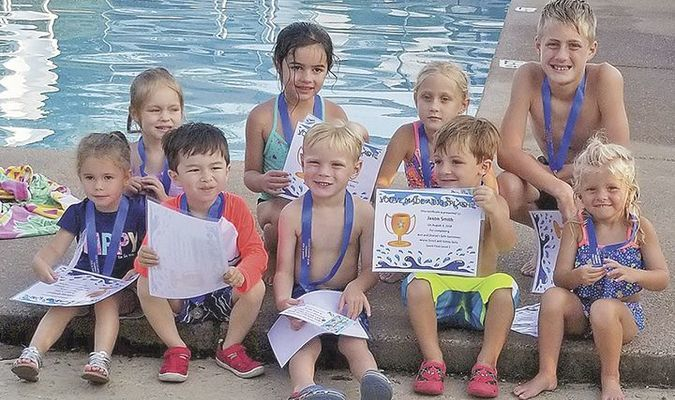 SAFE SWIMMERS – The last swimming class of the summer was a level 1 swim class held July 30-Aug. 3 at the Fulton Country Club. Pictured are participants, front row, left to right, Delaney Kimbell, Henry Boston, Garrett Black, Jaxon Smith, Addie Ray Guhy; back row, Addie Shea Cunningham, Lili Martin, Chloe Wiggins, and Gabe Wiggins. Not pictured is Maddox King. Instructors were Ann Bard and Sharye Hendrix (Photo submitted)