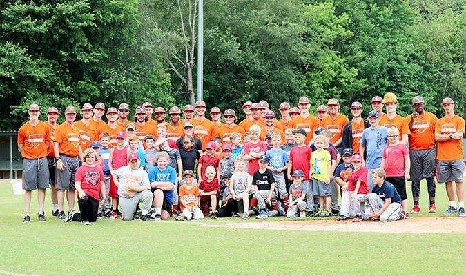 """A record number of youth were in attendance June 8 for the Fulton Railroaders' baseball camp, with members of the 2019 team and staff on hand for instruction in the basics of the game, at Lohaus Field in Fulton, home of """"The Yard"""", the Railroaders' home field."""
