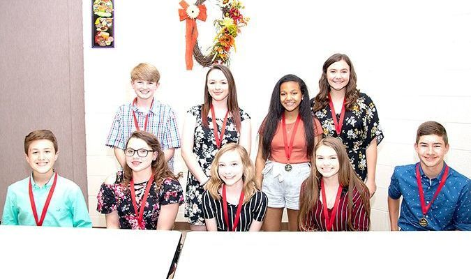 SOUTH FULTON MIDDLE SHOOL ACADEMIC TOP 10 FOR EIGHTH GRADE – Students in eighth grade at South Fulton Middle School were recognized prior to the end of the 2018-2019 school year, for the honor of being included in the academic top 10. Those students were front, left to right, Avary Hill, Ellen Colston, Emma Hodge, Hanna Walters, Conner Allen, back row, left to right, Logan Cromika, Makenna Naugle, Shaylyn Brown and Addison Wilder. Not pictured in Lilly Holzner. (Photo submitted)