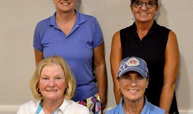 SECOND FLIGHT WINNERS – Winners in the Second Flight in the Ladies' Golf Tournament held at the Fulton Country Club on June 18 were, front row, from left, Debbie Ray and Debby Dick; and back row, Janice Thurmond and Sandy Sales. (Photo by Barbara Atwill)