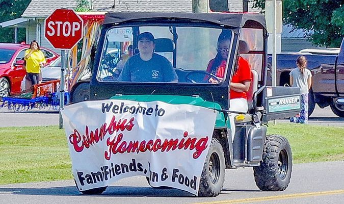 Leading the way and providing a welcome to spectators in Columbus Aug. 11 was this parade entry.