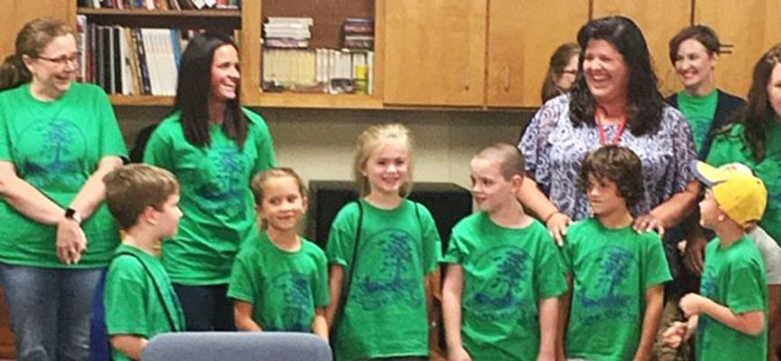 'REEL' CAMP READERS AT SFE – Students who attended the 'Camp Reel' at South Fulton Elementary this summer were among those recognized during the regular session of the Obion County School Board Aug. 5, along with counterparts from Ridgemont School, who also conducted the reading-related camp, funded through the awarding of a grant. SFES Principal Laura Pitts introduced SFES faculty who conducted the camp, including Penny Burton, Christa Hankins, Laura Murphy and Amanda Wilder, as well as asked for comments from camp participants. (Photo by Benita Fuzzell.)