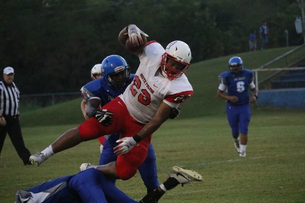 South Fulton High School's Red Devils handed the hosts, Fulton Bulldogs a 56-22 loss tonight, in a high spirited cross town match. See the complete story in the Sept. 18 issue of The Current. (Photo by Jake Clapper.)
