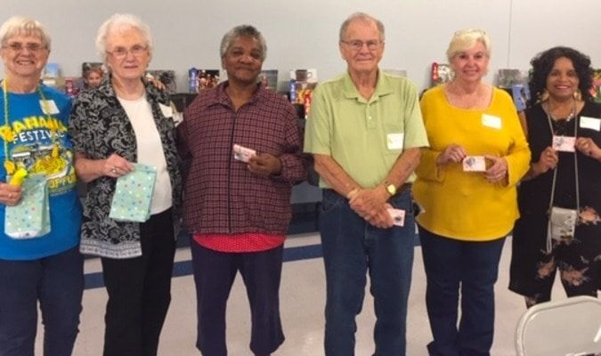 FULTON COUNTY SENIOR CITIZENS BANANA FESTIVAL ROOK TOURNAMENT RESULTS RELEASED-- Winners in the 2019 Rook Tournament held at Fulton's Pontotoc center Sept. 19 included third place, from left, Joan Pierce and Teeny King, second place Clara Polk and Thomas Richards; and in first place, Barbara Hooper and Brenda Dean. (Photos submitted, and by Benita Fuzzell.)