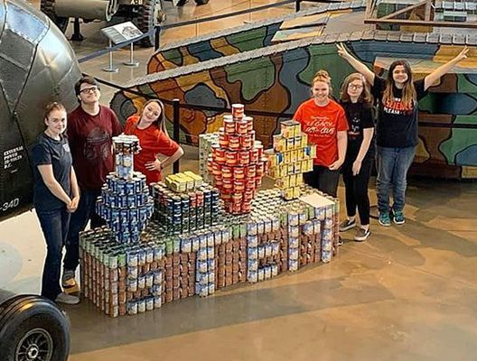 """CANSTRUCTION WINNER – South Fulton High School's STEM Club won """"Best Use of Labels"""" at the Discovery Park Canstruction competition Nov. 1. (Photo submitted)"""