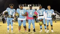 FOOTBALL SENIORS – Five Fulton County football players were honored during Senior Night ceremonies last Friday at Sanger Field. Pictured are, left to right, Armani Yandal, Kyle Bridges, Jerome Warren, Caleb Kimble and Colton Henderson played their final game at home against Murray High. (Photo by Charles Choate)