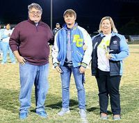 SENIOR GOLF – Fulton County golfer Sam Gibbs was honored on Senior Night last Friday. Gibbs played golf four years, and also played basketball two years. With Gibbs on Senior Night was his parents Jason and Sondra Gibbs. (Photo by Charles Choate)