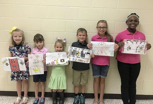 SOUTH FULTON ELEMENTARY BANANA ART WINNERS – Pictured are winners of the Banana Festival Poster Contest at South Fulton Elementary, from left to right, Cloee Clapper, Fourth Grade; Rayne Sills, Kindergarten; Eden Leath, First Grade; Jamison Barclay, Second Grade; Piper Lusk, Fifth Grade; and Ciera Jennings, Third Grade. (Photo submitted)