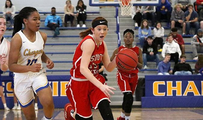 South Fulton Lady Red Devil Kailey Mayo leads the fast break against Westview Dec. 6. (Photo by Jake Clapper)