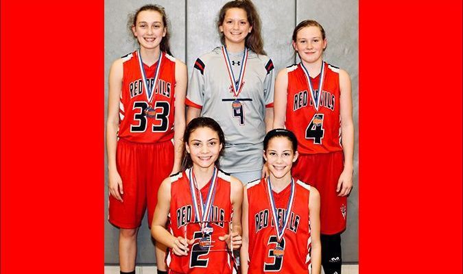 """MIDDLE SCHOOL SECTIONAL ALL TOURNAMENT TEAM – Four SFMS Lady Red Devils were named to the Sectional All Tournament Team, including Abbi McFarland, top left; Alayna Fussell (Hillcrest), Maddie Gray, top right; Aubree Gore and Anna Gore, front. Aubree Gore was also named """"M.V.P."""" of the tournament. (Photo by Jake Clapper)"""