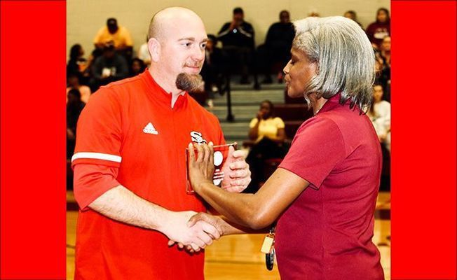 MIDDLE SCHOOL SECTIONAL COACH OF THE YEAR – SFMS Lady Red Devils Head Coach Jeremy McFarland was named Sectional Tournament Coach of the Year for the second year in a row. (Photo by Jake Clapper)