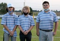 SENIOR GOLF – Pilot Senior golfers honored during Senior Night Sept. 18 were, left to right, Will Jackson, Seth Jones and Ian Lucy. (Photo by Charles Choate)