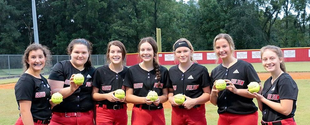 EIGHTH GRADE RECOGNITION – Eighth grade members of the South Fulton Middle School Lady Red Devils' softball team were recently honored, including Anna Kate Lawrence, Lydia Carlisle, Anna Claire Barnes, Hadley Barnes, Maddie Gray, Brynn Futrell and Chloe Liliker. (Photo submitted)