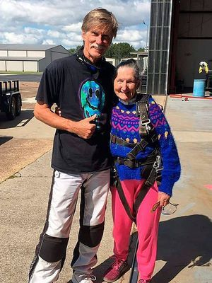 South Fulton's Mattie Cook pauses with her skydiving instructor minutes before boarding a plane for her first skydiving experience. (Photo submitted)