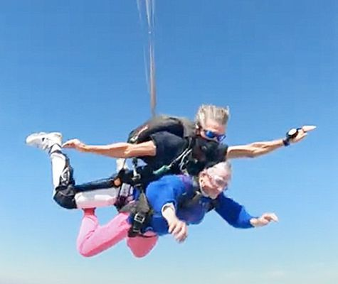 Cook is shown during the tandem skydive in mid-flight to celebrate her upcoming 82nd birthday. (Photo submitted)