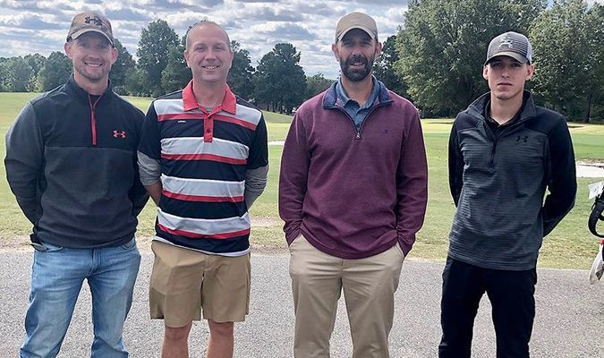 PAR FOR THE COURSE – Twin Cities' Chamber of Commerce annual Golf Tournament was held Oct. 2 at the Fulton Country Club, with a field of 12 teams competing. Citizens Bank came away with the top prize, winning first place for this year's tournament. Team members included left to right, Robby Mulcahy, Josh McFarland, Jason Faulkner and Jarett West. (Photo submitted.)