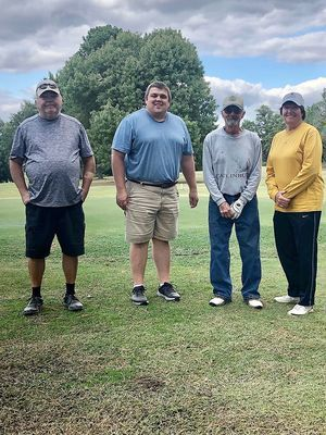 FAIRWAY FINISH – Winning third place in the annual Twin Cities Chamber of Commerce Golf Tournament was the team representing Parkway Church of Christ, which included Butch Dowty, Will Hester, David Rousche and Cheryl Brundige. Team entry included a catered meal at the Fulton Country Club during the tournament Oct.2. (Photo submitted)