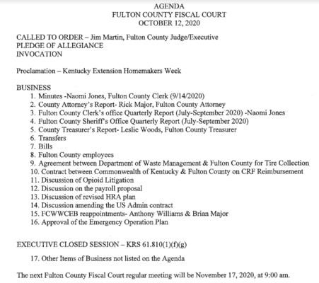 FULTON COUNTY FISCAL COURT AGENDA FOR OCT. 12, 9 A.M.