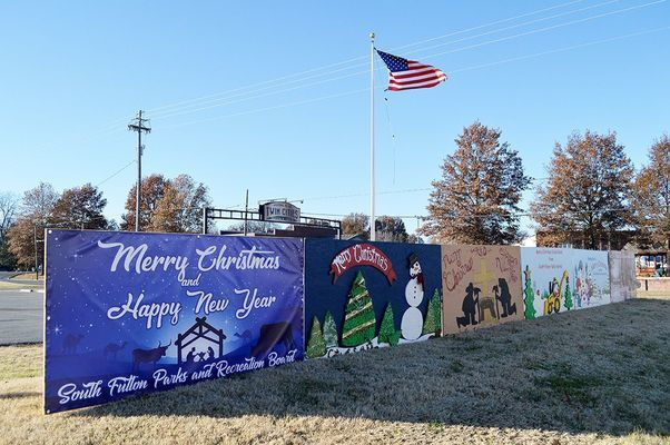 Fulton Tourism's Community Christmas Card Display preparing for view, as shown in this 2019 display.