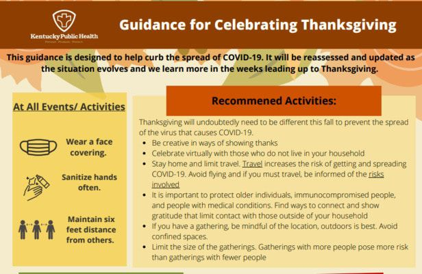 PROPOSED THANKSGIVING RECOMMENDATIONS FROM THE GOVERNOR'S OFFICE, PAGE ONE OF TWO