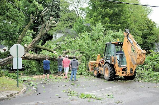 A HEAVY BLOW – In the May 6 edition of The Current, Fulton's Public Works crews spent most of the latter part of the previous weekend on clean up duty, following multiple downed trees and power lines, as well as extensive electrical outages, due to high winds.