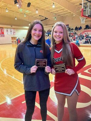 ALL COUNTY CHEER – Hadley Barnes and Laney Stokes, South Fulton Middle School cheerleaders were named to the All County Cheer Team during the recent Obion County Middle School basketball tournament. (Photo by Jake Clapper)
