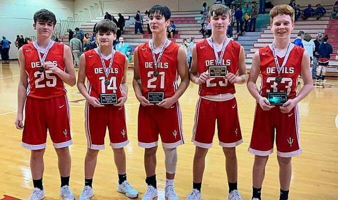 OBION COUNTY TOURNAMENT TEAM HONORS – Members from the SFMS Red Devils' basketball team included on the All Tournament Team for Obion County's boys were: Tucker Stevens, Connor O'Neal, Dallas Whitehead, Dane Cirkles, and Brady McFarland. McFarland, O'Neal, Whitehead, and Cirkles were also named to the All County Boys' Team. (Photo by Jake Clapper)