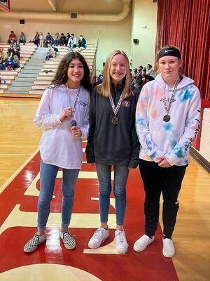 ALL TOURNAMENT, ALL COUNTY TEAMS INCLUDE LADY RED DEVILS – Jenefer Wallace, Caroline Barclay, and Maddie Gray, members of the SFMS Lady Devils basketball team were named to the Obion County Tournament All-Tournament Team. Wallace and Gray were also named to the All County Team. (Photo by Jake Clapper)