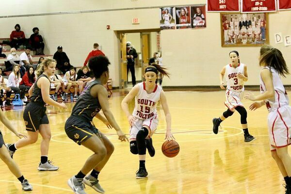 Lady Red Devil Kailey Mayo breaks away during court action versus Union City's Lady Tornadoes last week. Mayo scored two points in the matchup, with Union City taking the win, 58-29. (Photo by Jake Clapper)