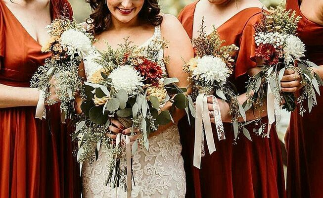 Bridal party bouquets recently created by The Rustic Rooster