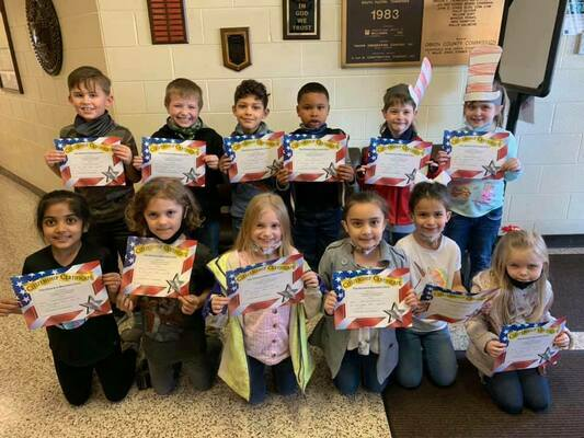 Students who exhibited outstanding traits in the area of Respect were recognized at South Fulton Elementary School recently, honored in the Character Counts program, sponsored by local area lending institutions. The Citizens Bank sponsored the awards for grades kindergarten through first, pictured here. (Photo submitted)