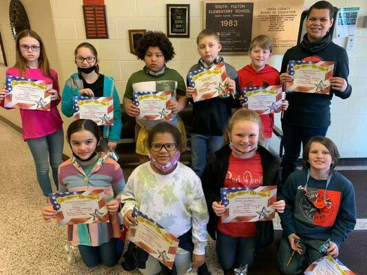 Students who exhibited outstanding traits in the area of Respect were recognized at South Fulton Elementary School recently, honored in the Character Counts program, sponsored by local area lending institutions. First Financial sponsored the awards for grades fourth and fifth, pictured here. (Photo submitted)
