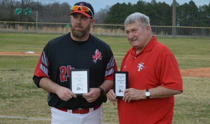 South Fulton High School Baseball Coach Jeremy McFarland and former SFHS Baseball Coach Gwin Wood will now have the team's field named in their honor, Wood-McFarland Field.