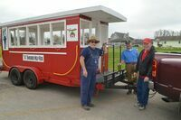 """The Shriners' Train was out of commission on Saturday, but the Shriners still were able to provide rides on their """"Caboose"""" to children in attendance for the Community Easter Egg Hunt on Saturday."""