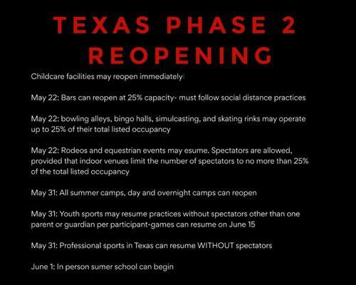 Phase ii of opening texas main