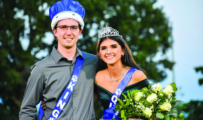 Everett Summitt and Lauren Brown were named Bobcat Homecoming King and Queen (Photo by Rebecca Bain)