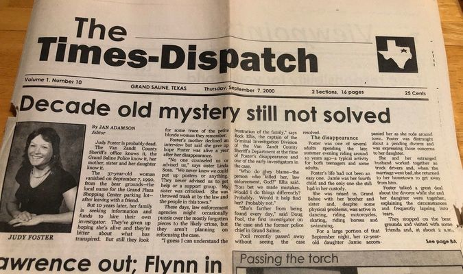 Old Newspaper articles relating to Judy Foster's Disappearance.
