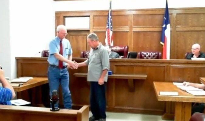 Commissioner Virgil Melton Jr. congratulated Nolan Dover, Pct 2 Road & Bridge Employee on his retirement.