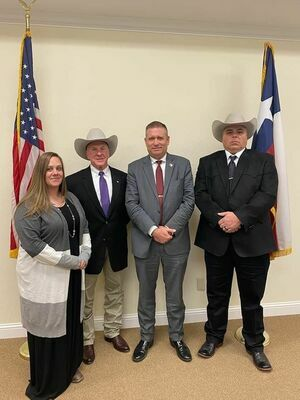 Lt. Natalya Harrelson (Jail Ops), Chief Deputy Craig Shelton (Jail and CID), Sheriff-elect Steve Hendrix, and Lt. Jerry Wood (CID)