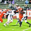 Aubrey Barnes protects quarterback Jaxon Taylor Friday night. (Photo by Paul Stevens)