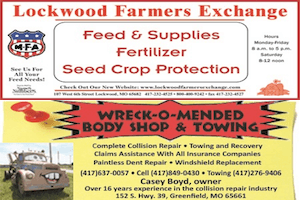 Lockwood Farmers Exchange/ Wreck - O- Mended Ads