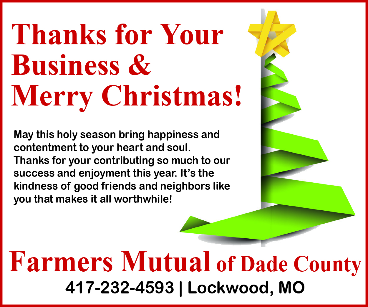 Farmers Mutual Christmas Greetings 2019