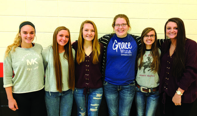 Left to right: April Countryman, Courtlyn Ryker, Grace McPhail, Hope Moore, Grace Miller and Bayley Harman.