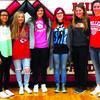 Left to right: Khala Fleming, freshman; Olivia Chapman, sophomore; Sarah White, senior; Alysa Dyer, senior; Shayne Mallory, senior; and Bethany Gulick, junior.
